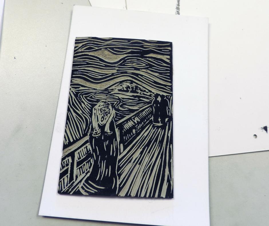 linoryt - matryca do obrazu Krzyk E. Muncha